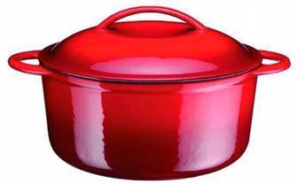 Cocotte in ghisa tonda rossa 25 cm, 4.3 l