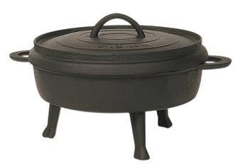 Tortiera in ghisa con piedi per fuoco da legna