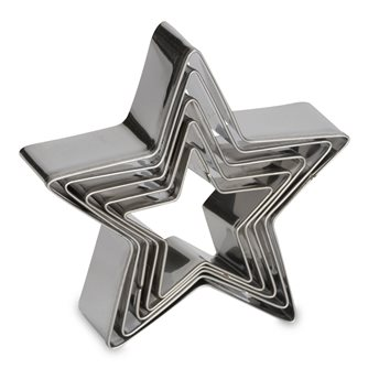 5 stampini a forma di stella in acciaio inox