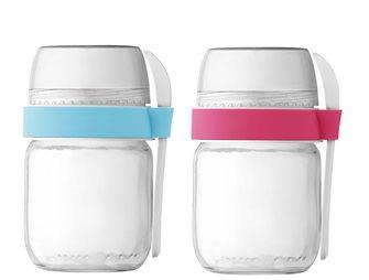 2 vasetti da asporto per yogurtiera colore rosa ed azzurro