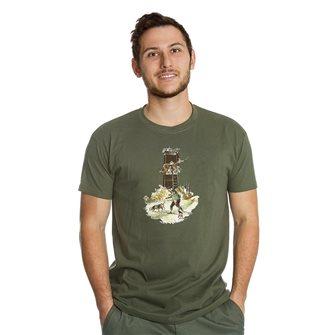 T-shirt kaki Bartavel Nature cacciatore che cerca selvaggina L