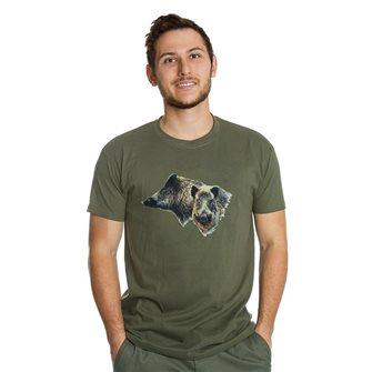 T-shirt uomo kaki Bartavel Nature stampa 2 teste di cinghiale M