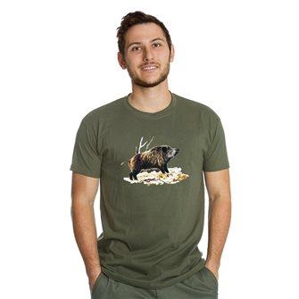 T-shirt uomo kaki Bartavel Nature stampa cinghiale su foglie 3XL