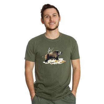 T-shirt uomo kaki Bartavel Nature stampa cinghiale su foglie L