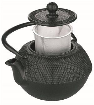 Teiera grande nera in ghisa 1,2 litri con filtro inox