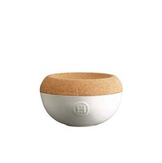 Saliera ceramica bianca Farina coperchio sughero Emile Henry