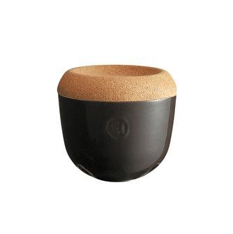 Vaso per aglio/scalogno ceramica antracite Fusain coperchio sughero Emile Henry