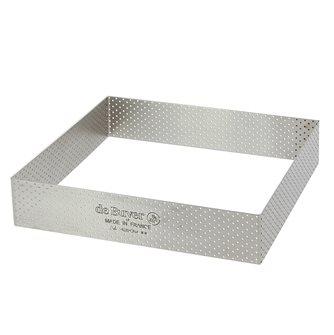 Stampo quadrato forato inox 20x20 cm bordo dritto 3,5 cm