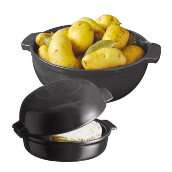 Kit diavola per patate e terrina da forno per formaggio grigio antracite Fusain Cheese Baker Emile Henry