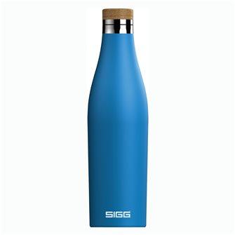 Gourde inox 0,5 litre isotherme avec bouchon inox Meridian bleue électrique Sigg